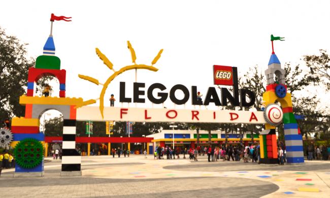 The LEGOLAND entrance just outside of Orlando, Florida.