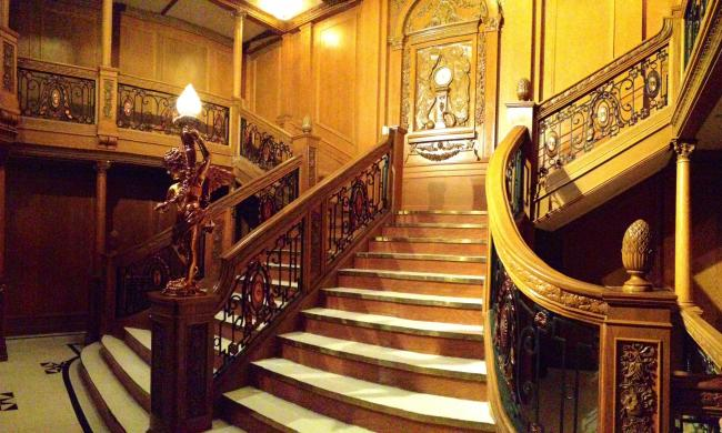 This is a perfect, to-scale replica of the grand staircase on the Titanic.