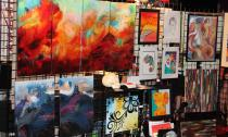 Local artists display their work, all of which is for sale.