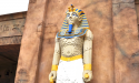 LEGO Pharaoh stands guard at the Lost Kingdom Adventure ride.